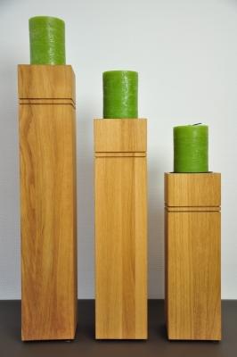 Dekosäule aus Holz - Eiche geölt, 3er Set, mit Kerzen