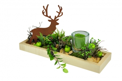 Dekoschale mit Hirsch und Kerze, aus natur lackiertem, massivem Ahornholz