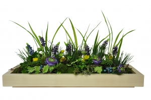 Dekoschale Frühlingsblumen, aus natur lackiertem, massivem Ahornholz