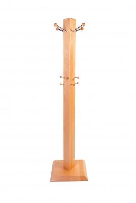 Garderobenständer aus Holz - Buche natur lackiert mit Edelstahl-Haken