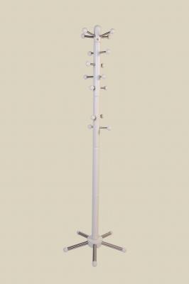 Garderobenständer, weiß lackiert - Edelstahl - mit verschiebbaren Aufhängern