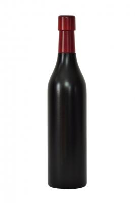 Pfeffermühle aus Holz, Weinflasche 0,5 l schwarz lackiert