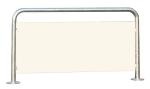 Anlehnbügel / Absperrbügel -Bosson- aus Stahl, mit Werbefläche, Höhe 800 mm