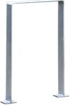 Anlehnb&uuml;gel / Absperrb&uuml;gel -Wolfsburg- 80 x 8 mm aus Edelstahl, H&ouml;he 800 mm (Montage/Material:  <b>zum Aufd&uuml;beln inkl. eckigen Bodenplatten</b>, matt gestrahlt (Art.Nr.: 15926))