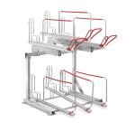 Doppelstockparker -Lindau- mit flexiblem Radabstand und Gasdruckfedern, H&ouml;he 2300 mm, einseitig (Einstellpl&auml;tze/Breite:  <b>4er</b>/1075-1200 mm (Art.Nr.: 35308))