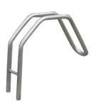 Einzelparker / Fahrradständer -Bratislava- aus Edelstahl, Reifenbreite bis 55 mm, 120 mm unter Flur (Material: matt gestrahlt (Art.Nr.: 15916))