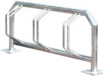 Fahrradklemme / Fahrradst&auml;nder -Kiew- aus Stahl, ein- oder zweiseitige Radeinstellung (Einstellplatz/Radeinstellung/L&auml;nge/Montage:  <b>3er einseitig</b>/1500mm/zum Einbetonieren (Art.Nr.: 10591))