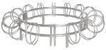 Fahrradst&auml;nder -Leeds-, einseitige Radeinstellung (Modell/Stellpl&auml;tze/Standpfosten/Breite/Tiefe/Befestigung:  <b>Halbkreis</b> 7 Stellpl&auml;tze<br>2000mm/1050mm<br>z. Wandbefestigung (Art.Nr.: 15589))