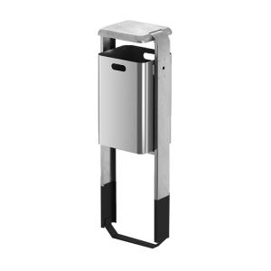 Abfallbehälter -City 200- 40 Liter aus Aluminium, mit Abdeckung o. Ascher und Dreikantverschluss