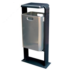 Abfallbehälter -City 200- 40 Liter aus Aluminium, mit Abdeckung und Dreikantverschluss