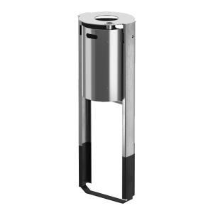Abfallbehälter -City 300- 40 Liter aus Aluminium, mit Ascher und Abdeckung
