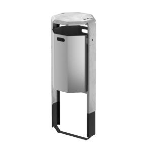 Abfallbehälter -City 500- 65 Liter aus Aluminium, mit Abdeckung o. Ascher, Dreikantverschluss, versch. Befestigungen
