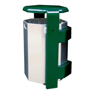 Abfallbehälter -City 500- 65 Liter aus Aluminium, mit Abdeckung und Dreikantverschluss, verschiedene Befestigungen