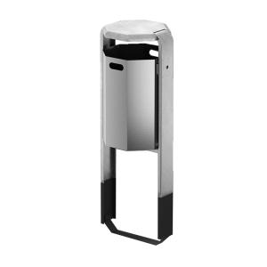 Abfallbehälter -City 600- 45 Liter aus Aluminium, mit Abdeckung, wahlweise mit Ascher