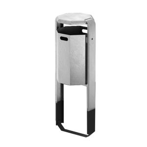 Abfallbehälter -City 600- 45 Liter aus Stahl, mit Abdeckung, wahlweise mit Ascher