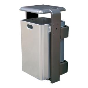 Abfallbehälter -City 800- 60 Liter aus Aluminium, mit Abdeckung und Dreikantverschluss, verschiedene Befestigungen