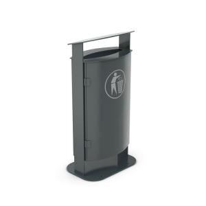 Abfallbehälter ohne oder mit Ascher -Kaspa / Kaspa+ (Zubehörartikel für Überdachungen J, K und P) ( <b>Austattung</b>: Modell Kaska ohne Ascher (Art.Nr.: 40796))
