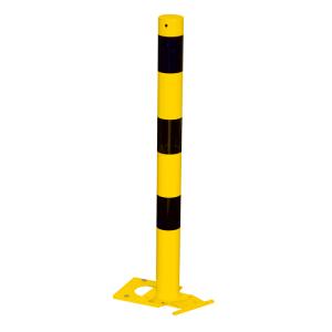 Absperrpfosten -Bollard- Ø 76 mm aus Stahl, gelb / schwarz, lösbar und abnehmbar (Ösen: ohne Ösen (Art.Nr.: 476apbg))