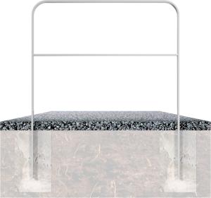 Anlehnbügel / Absperrbügel -Baltrum- 50 x 12 mm aus Stahl, mit Querholm, zum Einbetonieren (Breite/Farbe:  <b>750mm</b>/ohne Farbe (Art.Nr.: 4051.075))