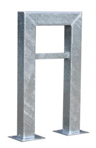 Anlehnbügel / Absperrbügel -Jena- 100 x 100 mm aus Stahl, Höhe 800 mm (Gesamthöhe/Montage: 1100mm/zum Einbetonieren (Art.Nr.: 10943))