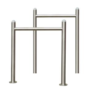 Anlehnbügel / Absperrbügel -Spring- aus Edelstahl, mit Querholm, zum Einbetonieren oder Aufdübeln (Montage: zum Einbetonieren<br>(Gesamtlänge 1200mm) (Art.Nr.: 39463))