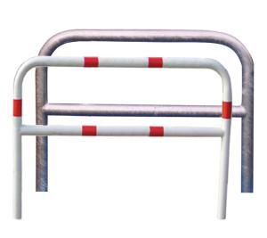 Anlehnbügel / Absperrbügel -Sylt- Ø 60 mm aus Stahl, zum Aufdübeln, mit Querholm, ohne Farbe, weiß / rot oder nach RAL