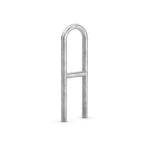 Anlehnbügel / Absperrbügel -Typ 9500- Ø 48 mm aus Stahl, Höhe 800 mm, mit Querholm (Länge/Gesamthöhe/Montage:  <b>270 mm</b> / 1150 mm<br>zum Einbetonieren (Art.Nr.: 9510))