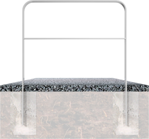 Anlehnbügel / Absperrbügel -Wangerooge- 80 x 12 mm aus Stahl, mit Querholm, zum Einbetonieren (Breite/Farbe:  <b>750mm</b>/ohne Farbe (Art.Nr.: 4053.075))