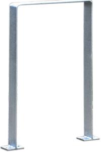 Anlehnbügel / Absperrbügel -Wolfsburg- 80 x 8 mm aus Edelstahl, Höhe 800 mm (Gesamthöhe/Montage/Material:  <b>1100mm/zum Einbetonieren</b><br>matt gestrahlt (Art.Nr.: 15927))
