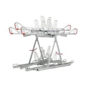 Doppelstockparker -Optimus- doppelseitig mit 400 mm Radabstand und Gasdruckfedern, Höhe 2750 mm (Einstellplätze/Breite/Platzbedarf:  <b>14er</b> / ca. 1521 mm / 1875 mm (Art.Nr.: 40260))