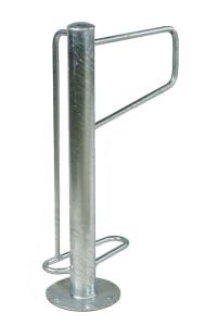 Einzelparker / Fahrradständer -Madrid-, Edelstahl, ein- oder zweiseitige Radeinst., ADFC Qualität (Einstellplatz/Anordnung/Montage/Material:  <b>1er einseitig</b> zum Einbetonieren<br>matt gestrahlt (Art.Nr.: 15904))