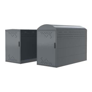 Fahrradgarage / Fahrradbox -Treasure 1- (2050x850 mm), ADFC Qualität, Grund- oder Anbauelement (Dachart/Höhe/Modell: Giebeldach/1250 mm<br> <b>Grundelement</b> komplett geschlossen<br>mit 2 Seitenwänden<br>(Einzelaufstellung möglich)<br