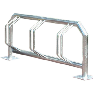 Fahrradklemme / Fahrradständer -Kiew- aus Edelstahl, ein- oder zweiseitige Radeinstellung (Einstellplatz/Radeinstellung/Länge/Montage/Material:  <b>3er einseitig</b><br>1500mm/zum Einbetonieren<br>matt gestrahlt (Art.Nr.: 15882))