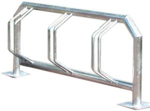 Fahrradklemme / Fahrradständer -Kiew- aus Stahl, ein- oder zweiseitige Radeinstellung (Einstellplatz/Radeinstellung/Länge/Montage:  <b>3er einseitig</b>/1500mm/zum Einbetonieren (Art.Nr.: 10591))