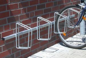 Fahrradklemme / Fahrradständer -Monaco-, zur Wandmontage (Einstellplätze/Einstellwinkel/Radabstand/Länge:  <b>3er 90°</b>/500mm/1500mm (Art.Nr.: 10697))