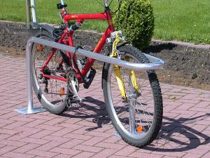 Fahrradparker -Kopenhagen- Ø 48 mm aus Stahl, Höhe 600 mm (Gesamthöhe/Montage: 1000mm/zum Einbetonieren (Art.Nr.: 10826))