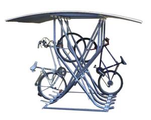 Fahrradparker / Schräghochparker -Catania-, zweiseitig, mit Bogendach, zur freien Aufstellung (Einstellplätze/Gesamtbreite:  <b>10 Einstellplätze</b><br>2400 mm (Art.Nr.: 24229))