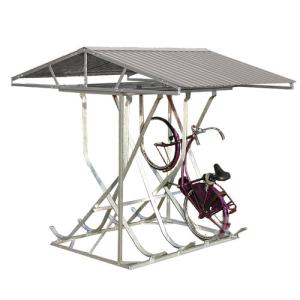 Fahrradparker / Schräghochparker -Florenz-, zweiseitig, mit Satteldach, zur freien Aufstellung (Einstellplätze/Gesamtbreite/Radabstand:  <b>8 Einstellplätze</b><br>2220 mm / 500 mm (Art.Nr.: 10876))