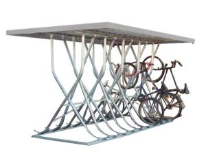 Fahrradparker / Schräghochparker -Latium-, zweiseitig, mit Flachdach, zur freien Aufstellung (Einstellplätze/Gesamtbreite:  <b>10 Einstellplätze</b><br>2560 mm (Art.Nr.: 24231))