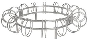 Fahrradständer -Leeds-, einseitige Radeinstellung (Modell/Stellplätze/Standpfosten/Breite/Tiefe/Befestigung:  <b>Ringständer</b> mit Standpfosten Ø 48 mm<br>16 Stellplätze<br>2100mm/2180mm/Innen Ø 1300mm/z. Aufschrauben (A
