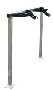 Fahrradständer -Monza- mit Lenkerhaltersystem, ein- und zweiseitige Radeinstellung (Länge/Einstellung/Tiefe/Stellplätze/Befestigung:  <b>1500mm einseitig</b><br>370mm, 3 Stellplätze<br>zum Einbetonieren (Art.Nr.: 15613))