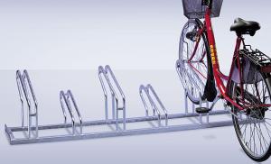 Fahrradständer -Nil-, Reihenanlage, verschweißt (Radstände/Einstellwinkel/Radeinstellung/Länge/Radabstand/Anordnung:  <b>2er 90°,einseitig</b><br>700mm/350mm/hoch-tief (Art.Nr.: 10725))