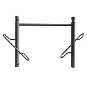 Fahrradständer -Trend- Ø 76 mm aus Stahl, Höhe 750 mm, zum Einbetonieren (Farbe: RAL 3004 purpurrot (Art.Nr.: 22597))