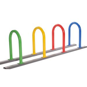 Kinderfahrradständer / Anlehnbügel -Kasan- (Einstellplätze/Länge/Farben:  <b>2er</b>/1000mm/rot,gelb (Art.Nr.: 15386))