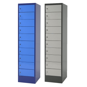 Ladeschrank -E-Top- für Notebook, Tablet, Smartphone, 10 Fächer inkl. 2 Steckdosen pro Fach (Farbe (Gehäuse/Front): taubenblau/hellblau (Art.Nr.: 38967))