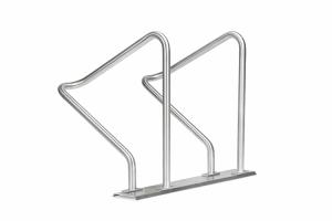 Reihenanlehnbügel -Kalchas- auf Trapezschiene, aus Edelstahl, einseitige Radeinstellung 90° (Anzahl der Stellplätze/Länge: 2er / 1111 mm (Art.Nr.: 41093))