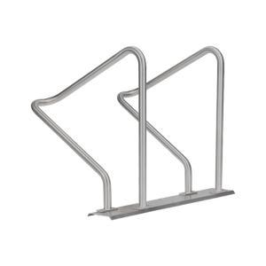 Reihenanlehnbügel -Kalchas- auf Trapezschiene, aus Stahl, einseitige Radeinstellung 90°