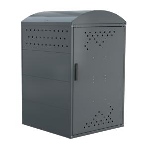 Rollatorgarage / Rollatorbox -Treasure 2- (850x850 mm), Grund- oder Anbauelement (Dachart/Höhe/Modell: Giebeldach/1250 mm<br> <b>Grundelement</b> komplett geschlossen<br>mit 2 Seitenwänden<br>(Einzelaufstellung möglich)<br>Gewicht ca. 50 kg