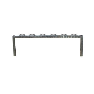 Scooter-Parker, 6 Einstellplätze, verschließbare Halteringe (Montage:  <b>für Wandbefestigung</b><br>mit Dübelplatten 150x100 mm<br>Befestigungsset 470.712 benötigt (Art.Nr.: 421.96))