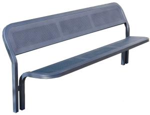 Sitzbank -Time- mit Rückenlehne, Stahl, Sitz- und Rückenfläche aus Stahlblech, zum Einbetonieren (Farbe: RAL 3004 purpurrot (Art.Nr.: 22121))
